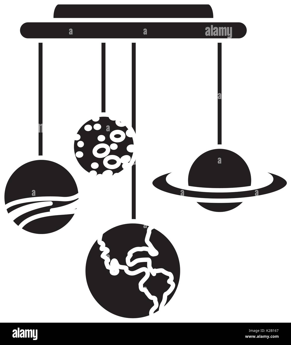 hanging earth and others planet space icon - Stock Image