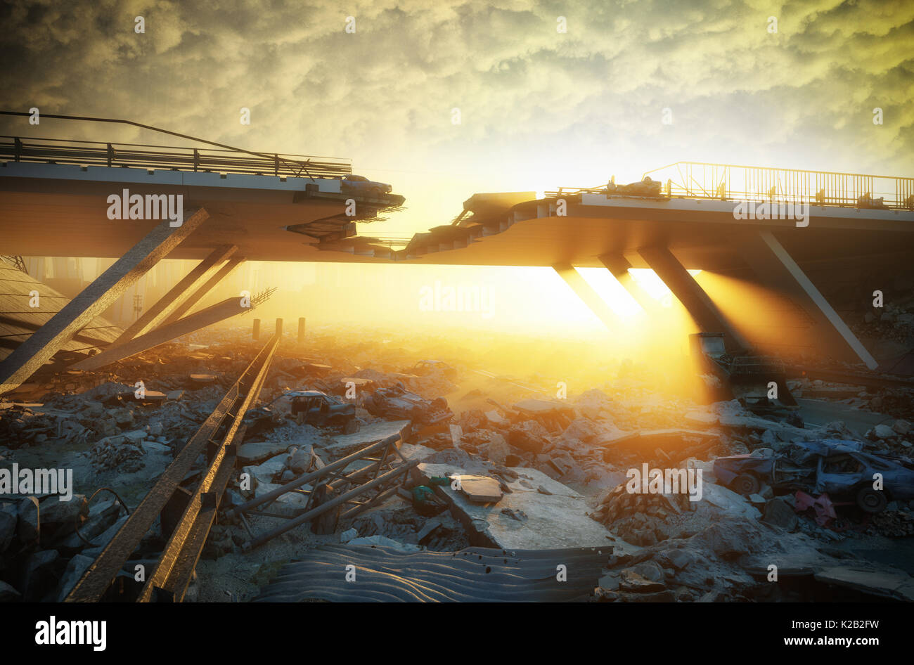 Ruins of a city. Apocalyptic landscape.3d illustration concept - Stock Image