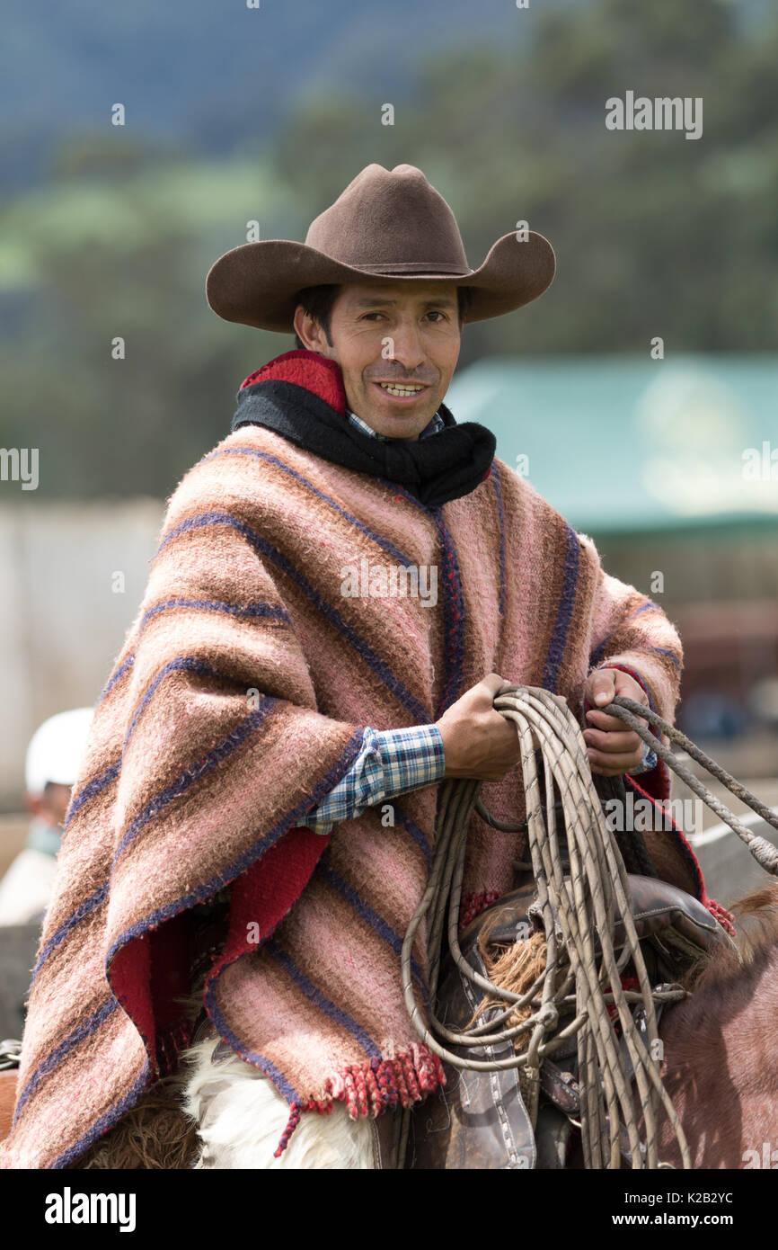cowboy on horse back in Ecuador - Stock Image