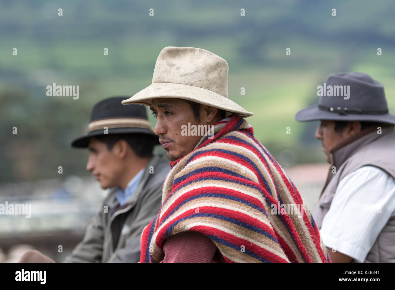 June 3, 2017 Machachi, Ecuador: closeup portrait of a cowboys in the andes wearing traditional clothing - Stock Image