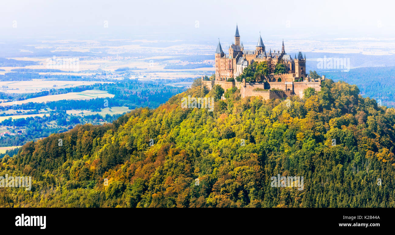 Impressive Hohenzollern medieval castle in forest,Germany. - Stock Image