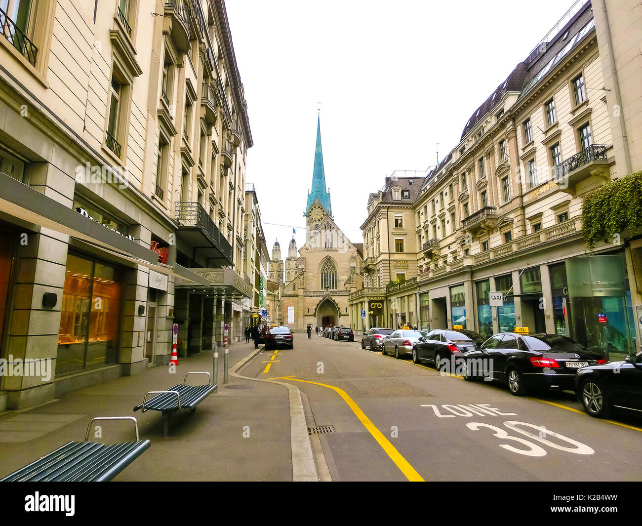 Zurich, Switzerland - May 02, 2017: The city center of Zurich, Switzerland. People on the background - Stock Image