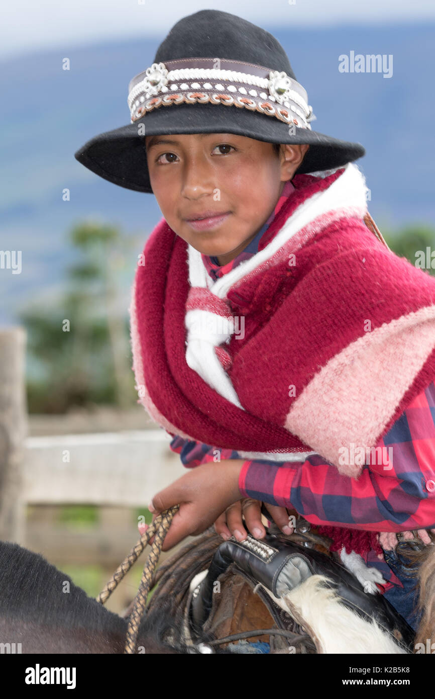 June 3, 2017 Machachi, Ecuador: closeup of a young boy dressed as cowboy from the Andes region called 'chagra' in traditional wear - Stock Image