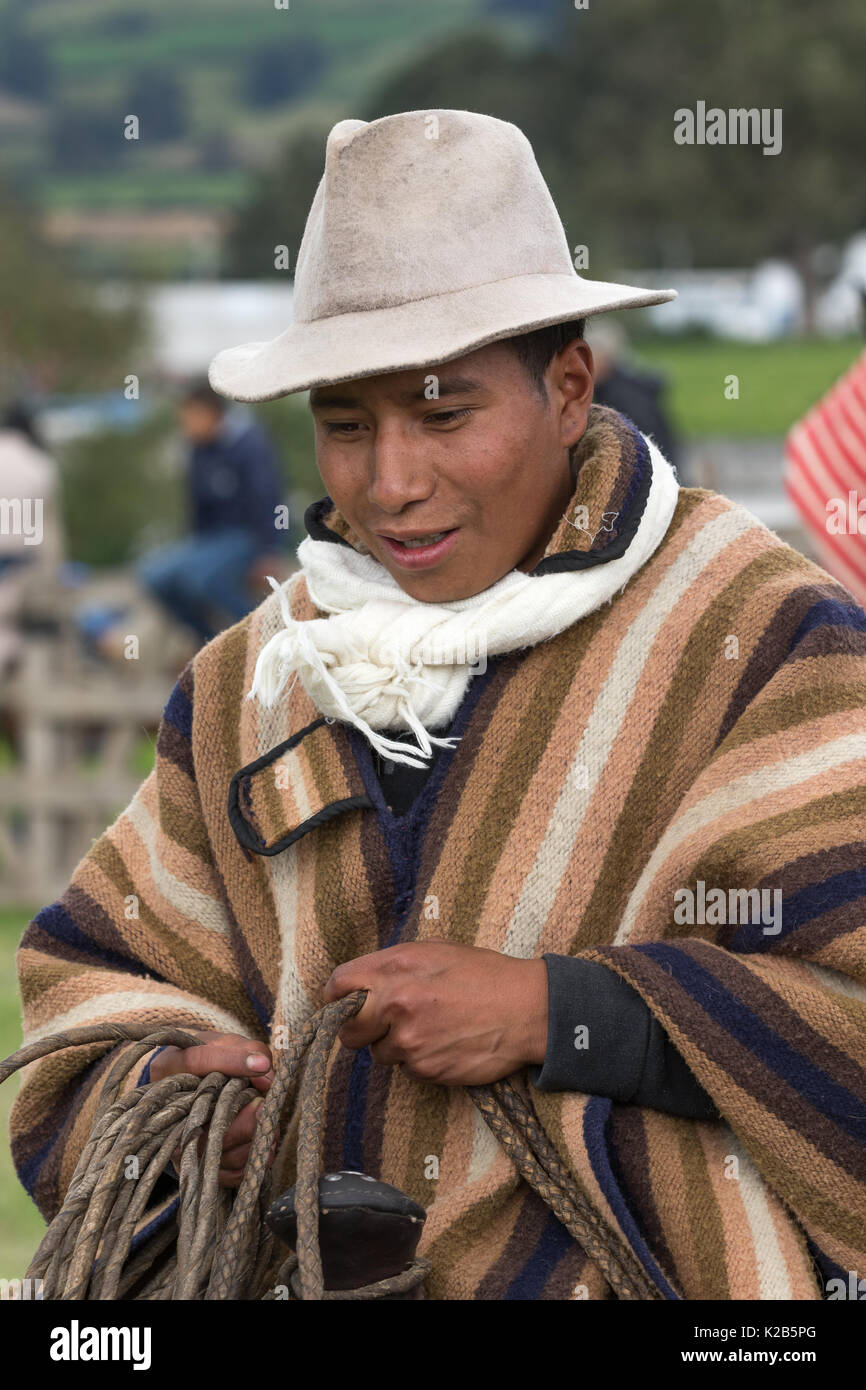 June 3, 2017 Machachi, Ecuador: closeup of a cowboy from the Andes region called 'chagra' in traditional wear - Stock Image