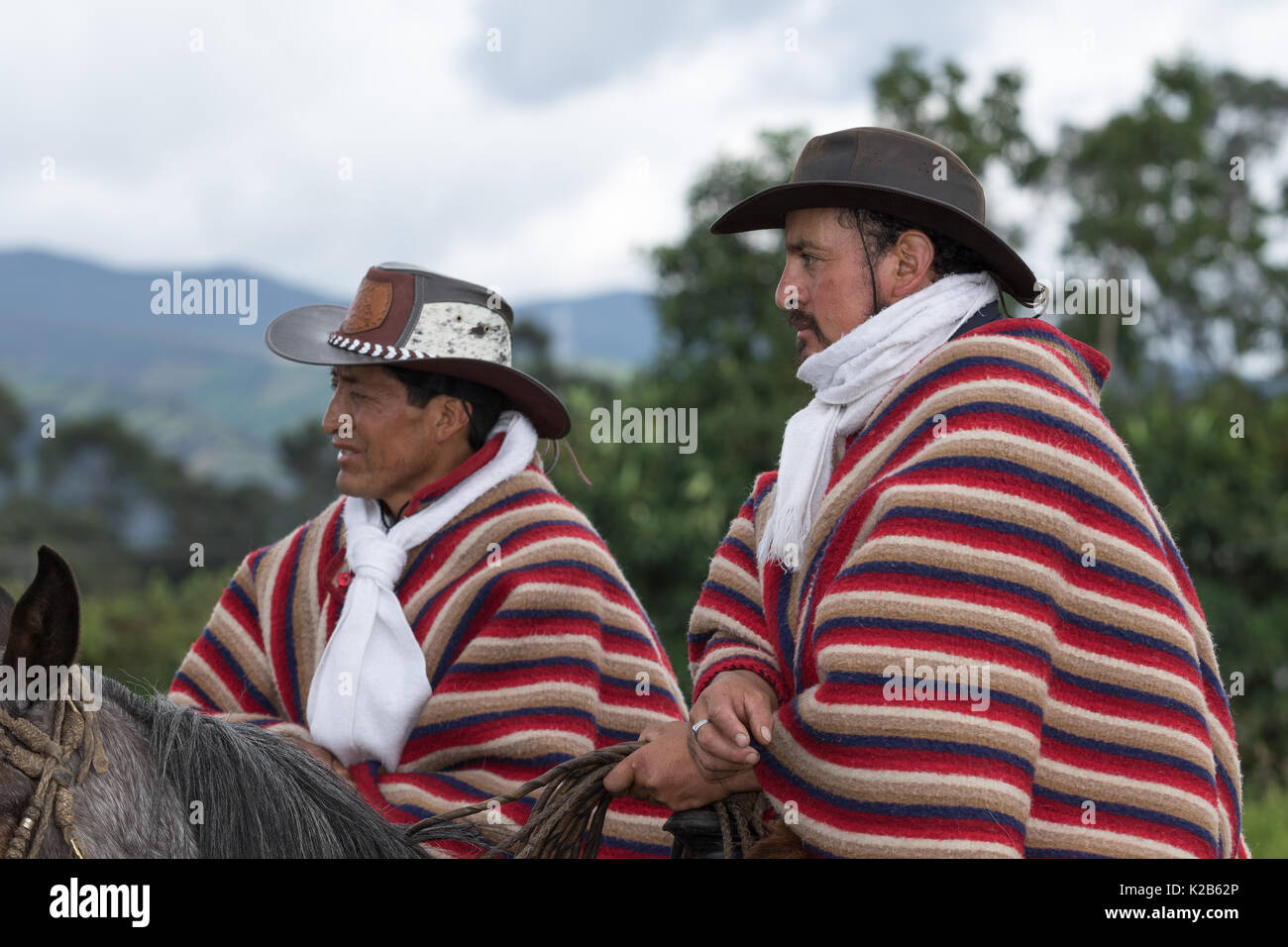 June 3, 2017 Machachi, Ecuador: cowboys in traditional wear on horseback in the Andes - Stock Image