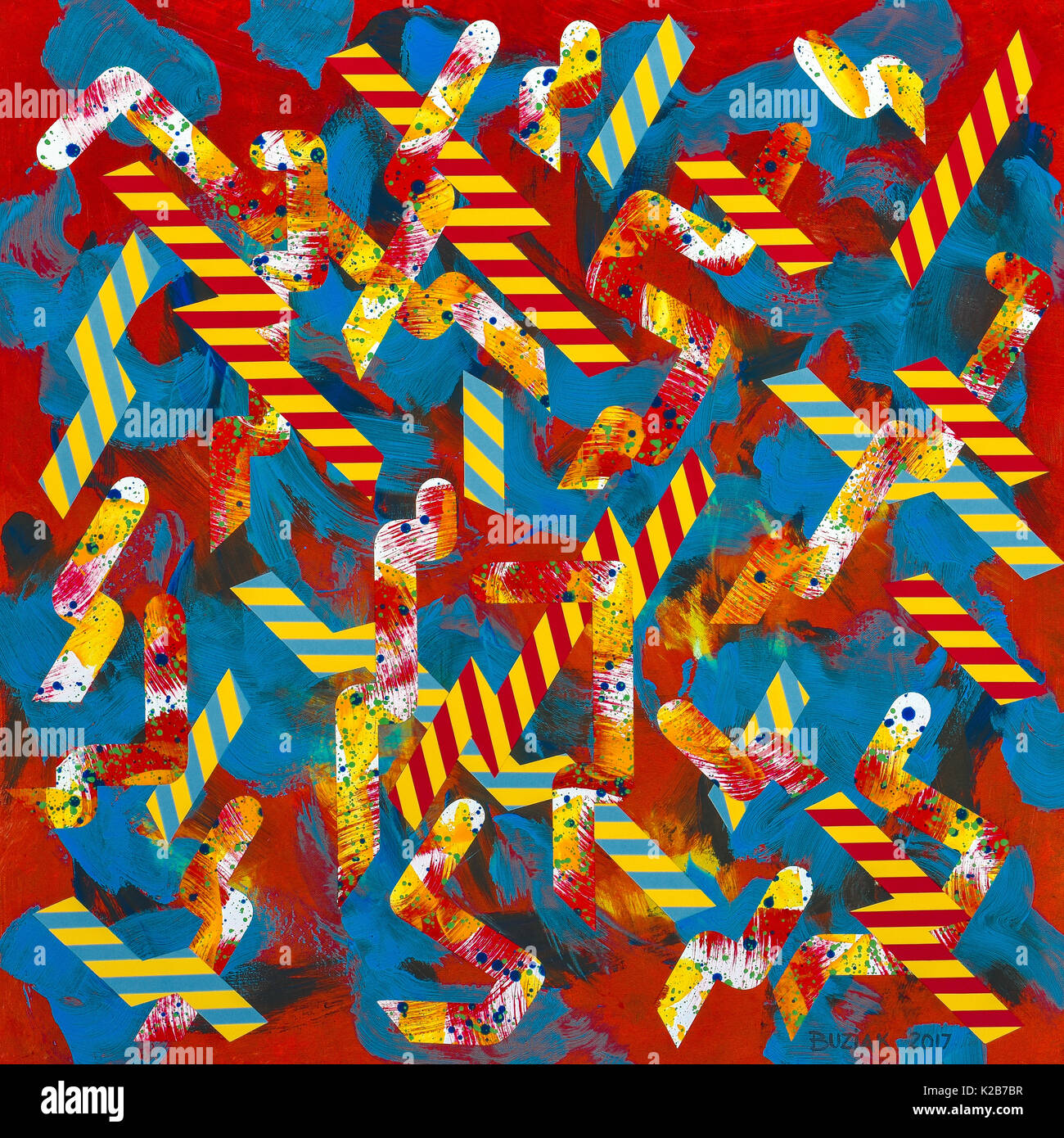 'Snakes and Ladders' - abstract artwork by Ed Buziak. - Stock Image