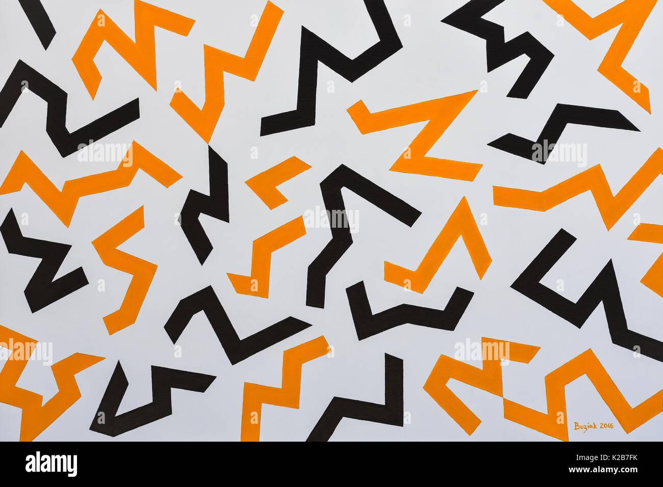 'Vauban's Hazard Stripes' - abstract artwork by Ed Buziak. - Stock Image