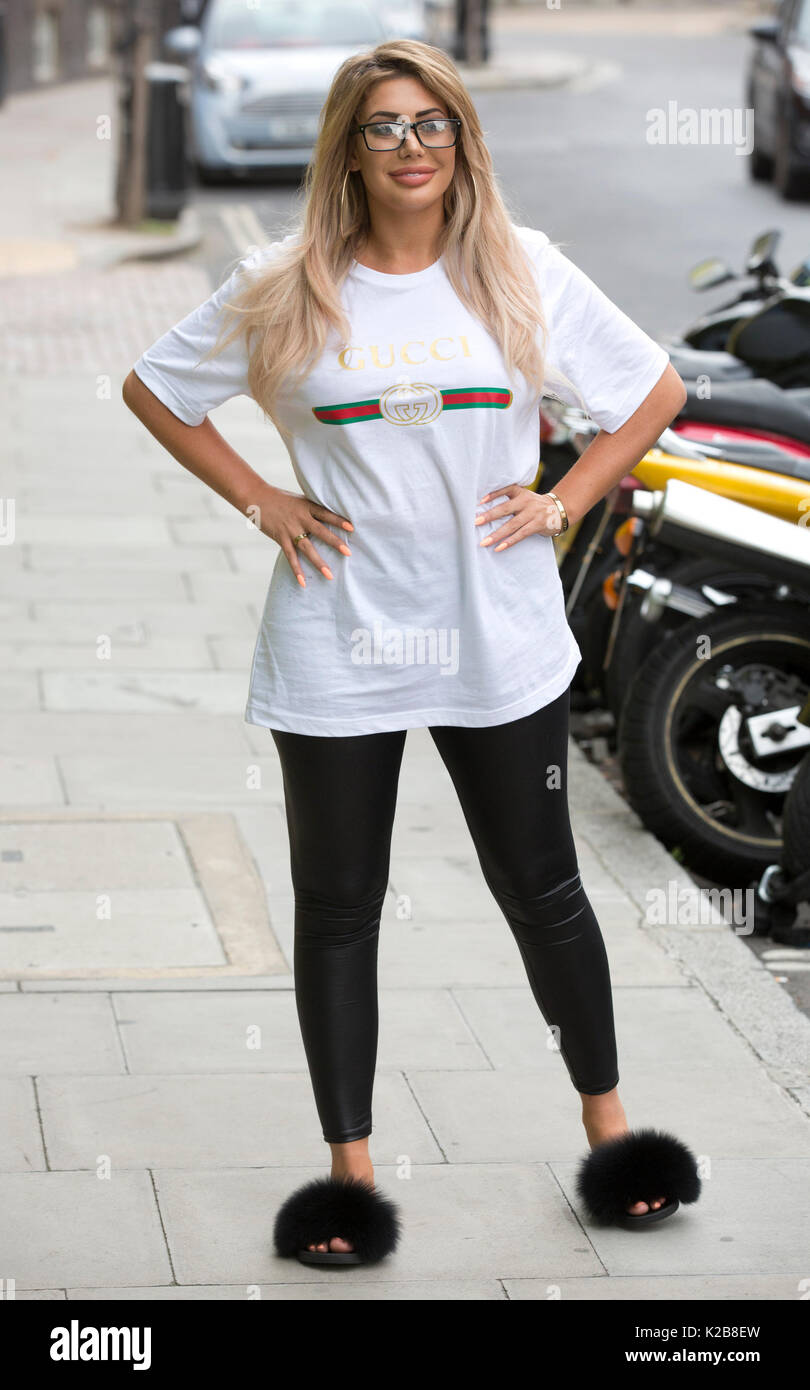 Chloe Ferry from the cast of Geordie Shore attends a photocall outside the MTV studios, London, ahead of the first episode of Season 15 which airs tonight. - Stock Image