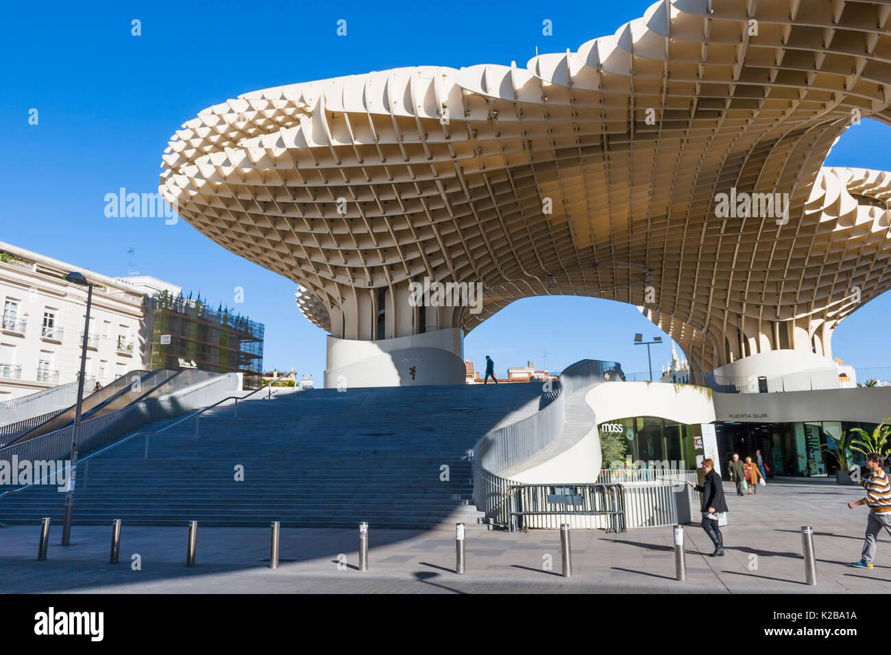 The Metropol Parasol, La Encarnación square, Seville, Spain. A wooden structure designed by German architect Jürgen Mayer, the building is popularly k - Stock Image