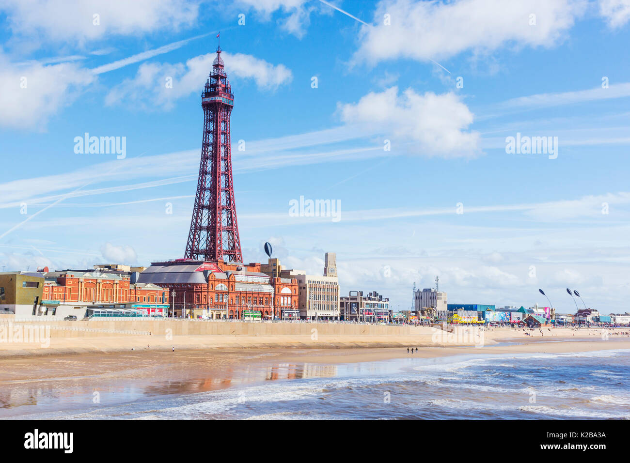 Blackpool, Fylde Coast, Lancashire, England.  The Blackpool Tower, opened on14 May 1894 and inspired by the Eiffel Tower in Paris, it stands 518 feet  - Stock Image