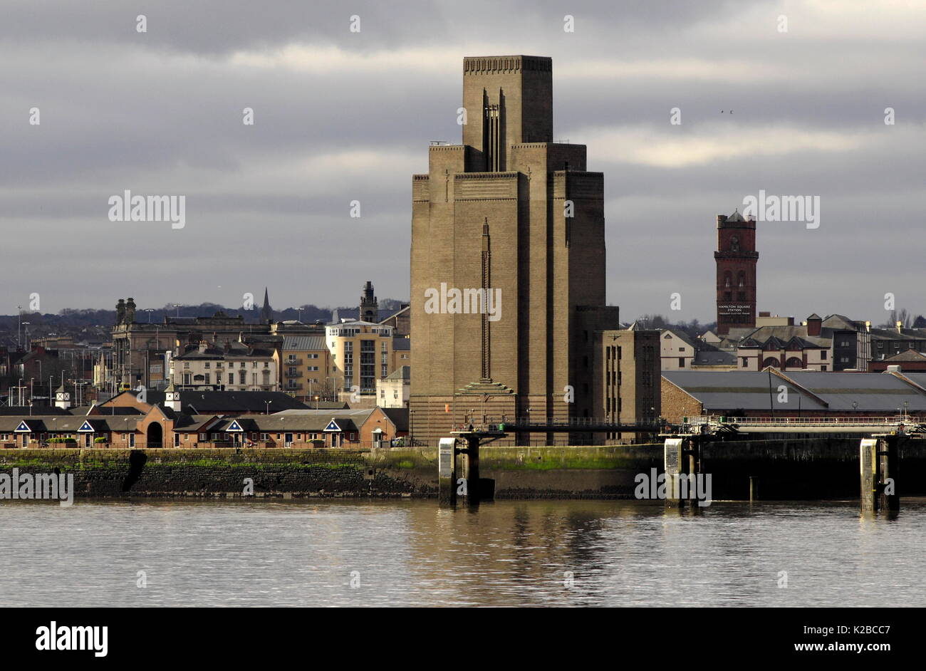 AJAXNETPHOTO. BIRKENHEAD, ENGLAND. - BIRKENHEAD GEORGE'S DOCK VENTILATION AND CONTROL STATION AT PIER HEAD ON THE MERSEY RIVER.
