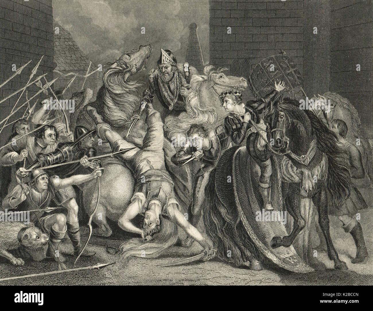 Murder of Wat Tyler by Lord Mayor of London Sir William Walworth, In Smithfield, 1381 - Stock Image