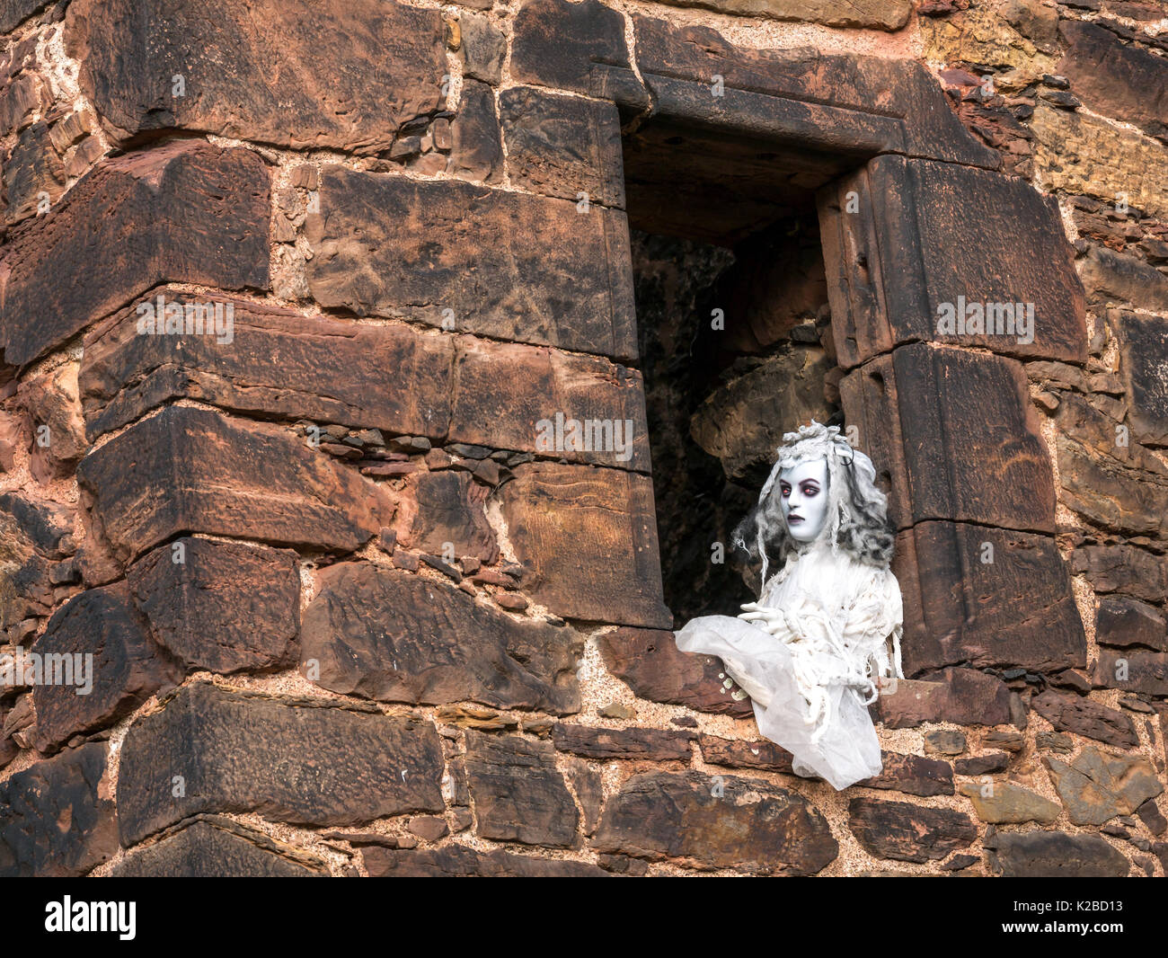 Ghostly woman with flashing red eyes at open window of ruined ivy covered Redhouse Castle, Halloween time, East Lothian, Scotland, UK - Stock Image