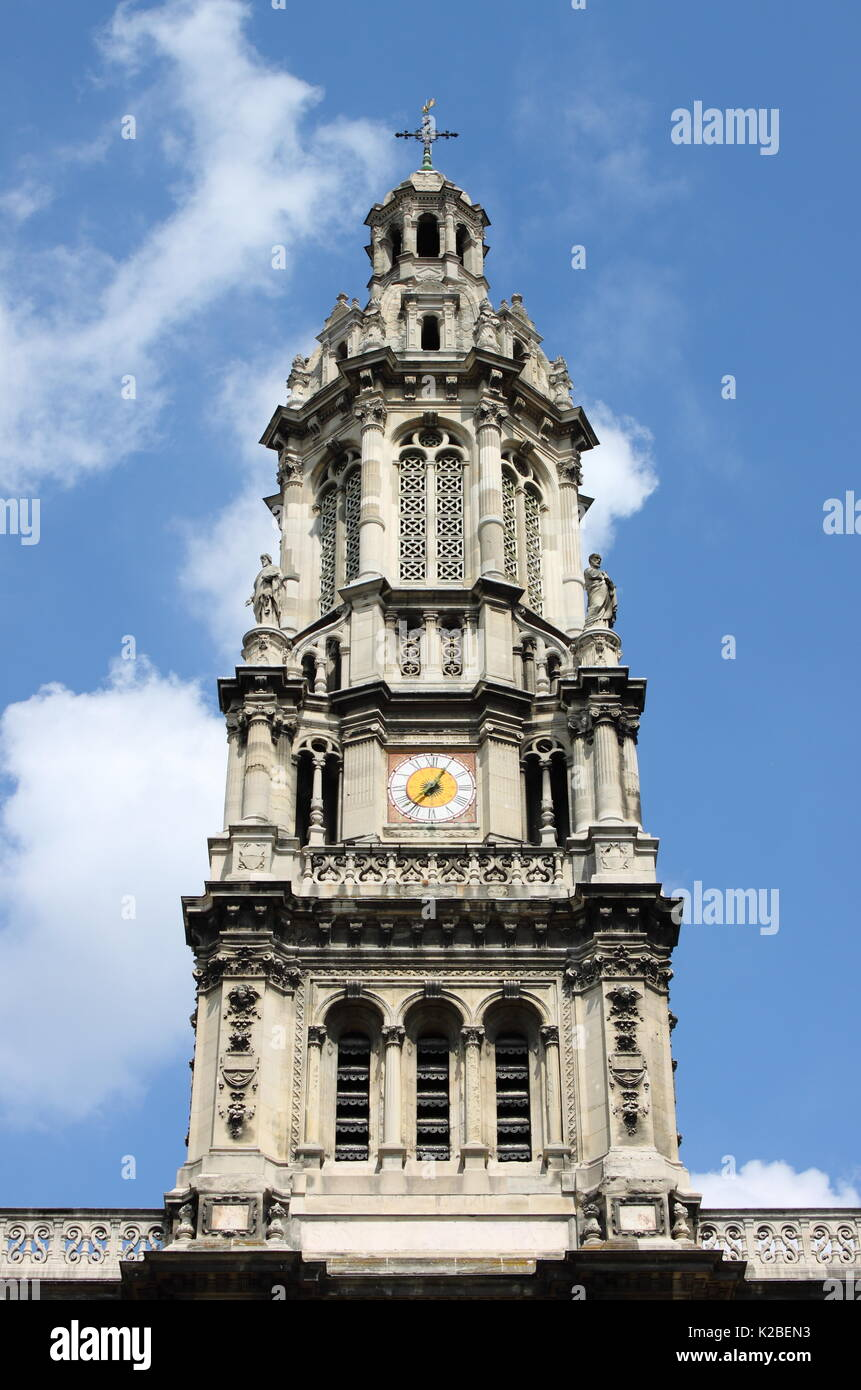 Belfry of Saint Trinity Church in Paris, France - Stock Image