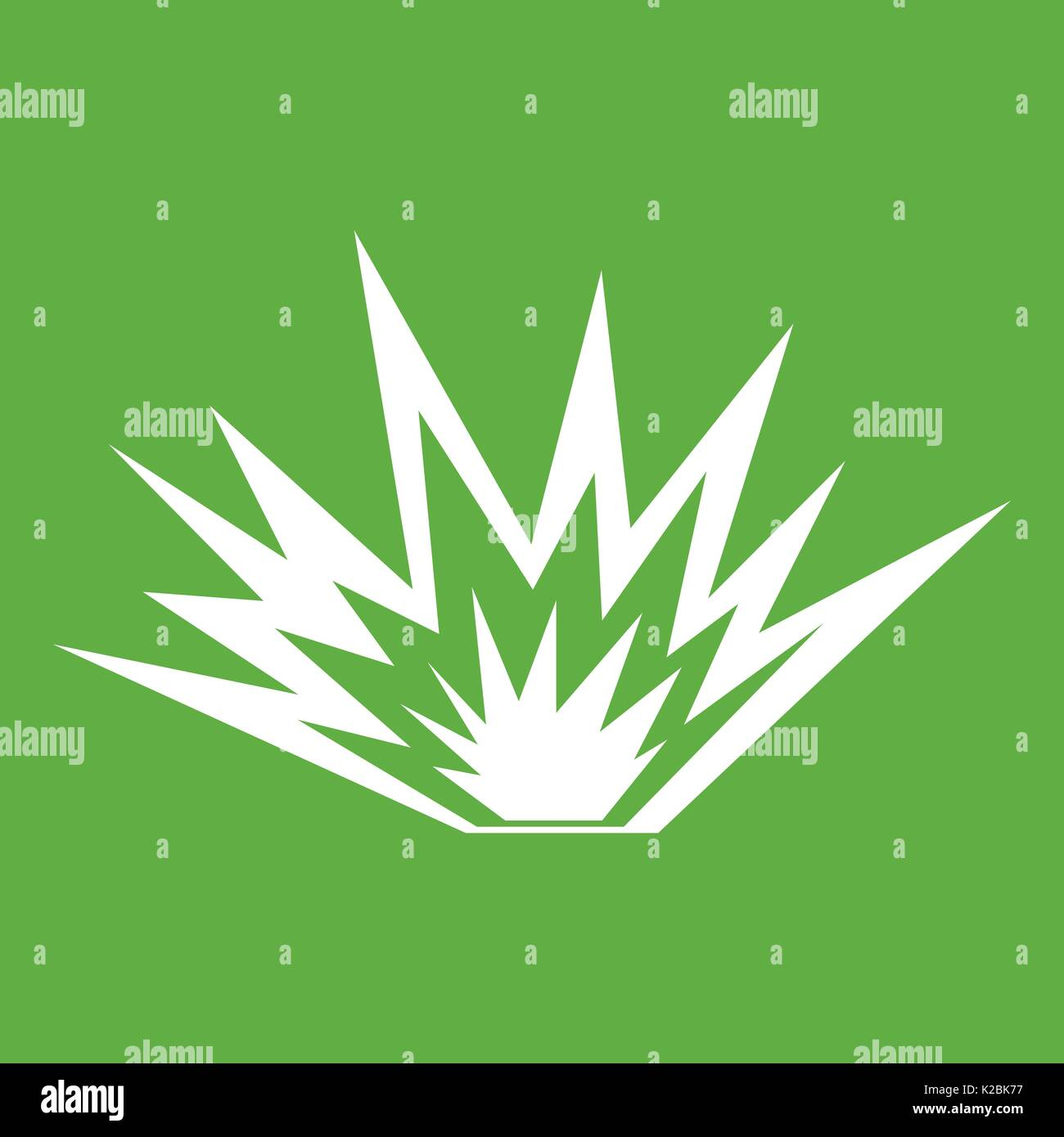 Nuclear explosion icon green - Stock Image