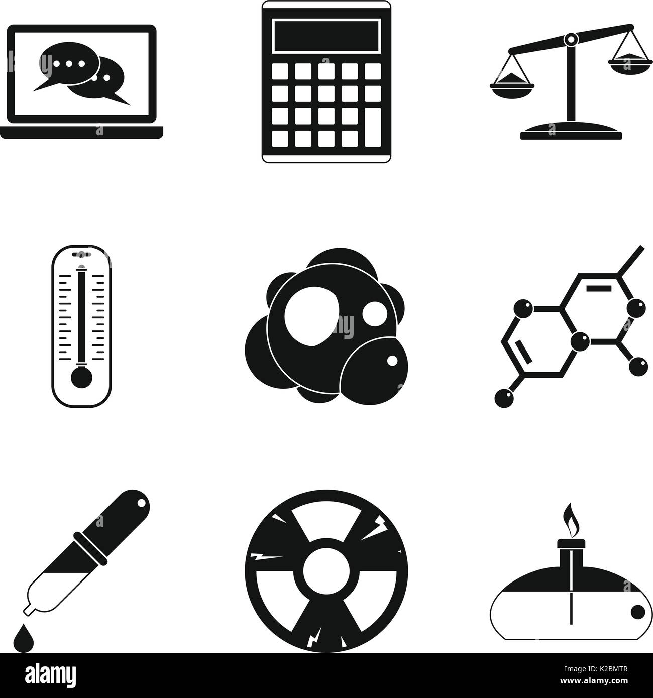 Calculator icons set, simple style - Stock Image
