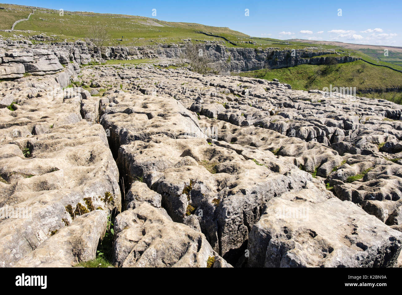 Clints and grikes in the limestone pavement at top of Malham Cove. Malham, Malhamdale, Yorkshire Dales National Park, North Yorkshire, England, UK - Stock Image