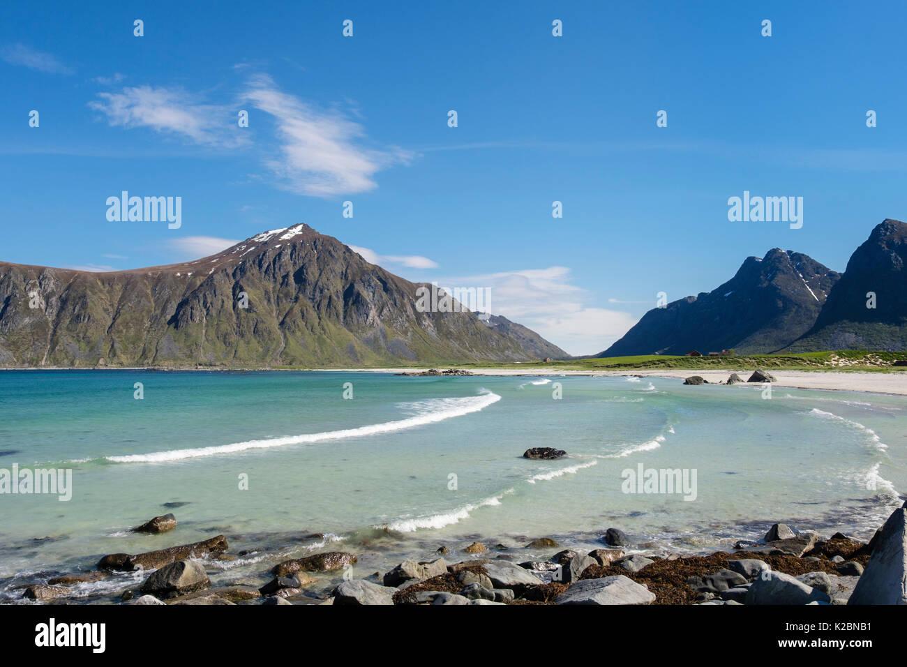 View along beautiful quiet sandy Skagsanden beach. Flakstad, Flakstadøya Island, Lofoten Islands, Nordland, Norway, Scandinavia - Stock Image