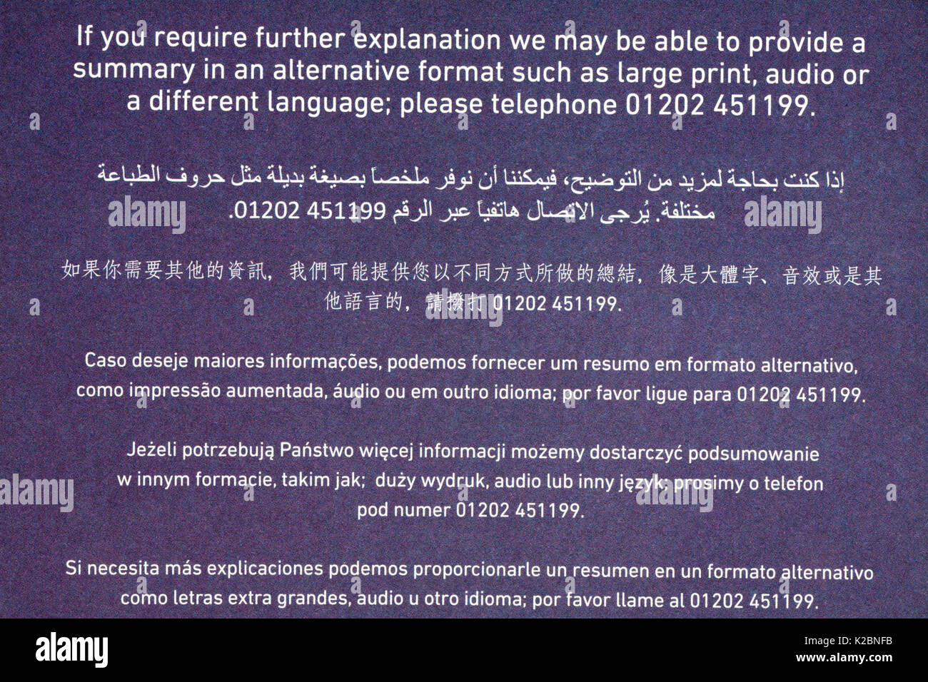 Detail on correspondence from Bournemouth Council about recycling in many different languages multi-languages - Stock Image