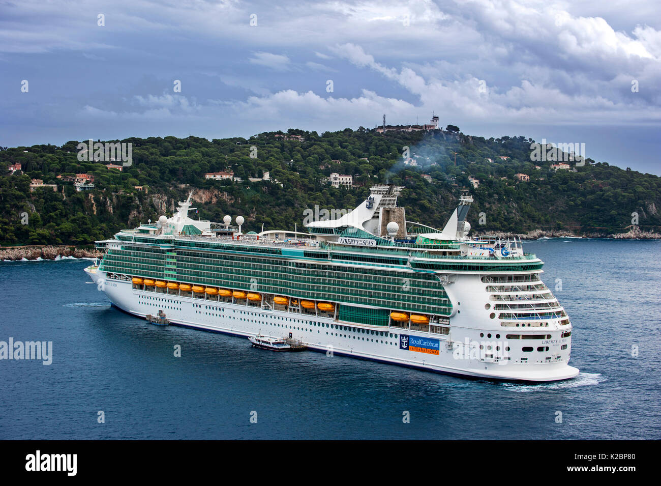 Cruise ship MS Liberty of the Seas of Royal Caribbean International, docked in Nice on French Riviera, France, Europe. October 2014. - Stock Image