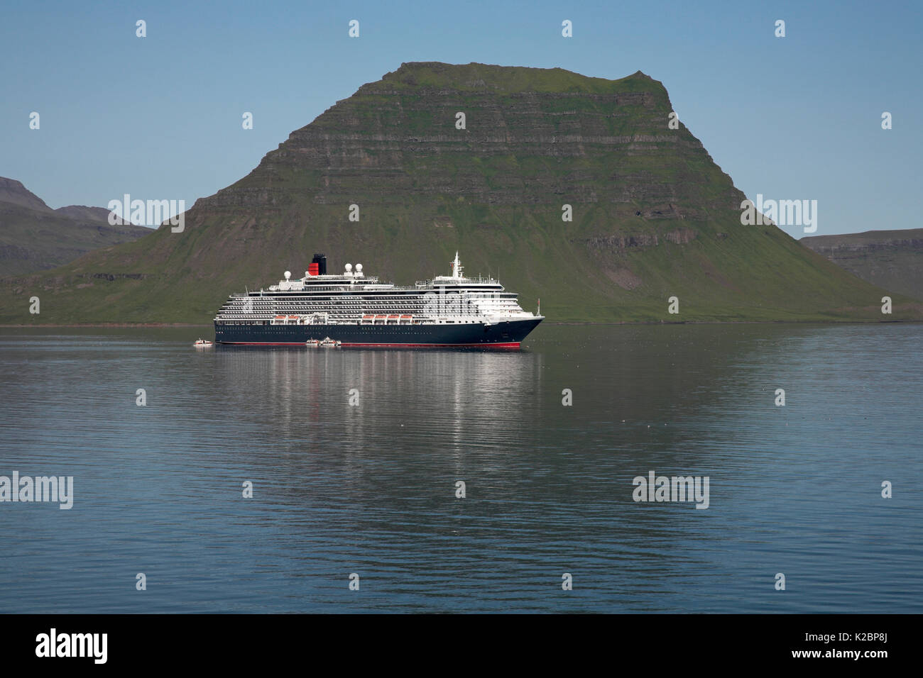 Cunard cruise liner 'Queen Victoria' anchored at Kirgjufell, Grundarfjordur, Iceland. July 2009. Stock Photo