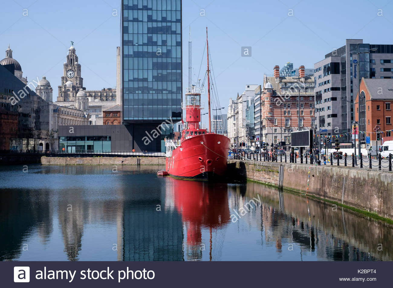 Boat moored at Canning Dock, part of the Albert Dock complex, Liverpool, Merseyside, UK, June 2015. All non-editorial Stock Photo