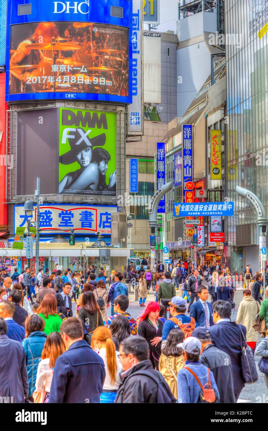 The Shibuya street crossing in Shibuya, Tokyo, Japan, Asia. - Stock Image