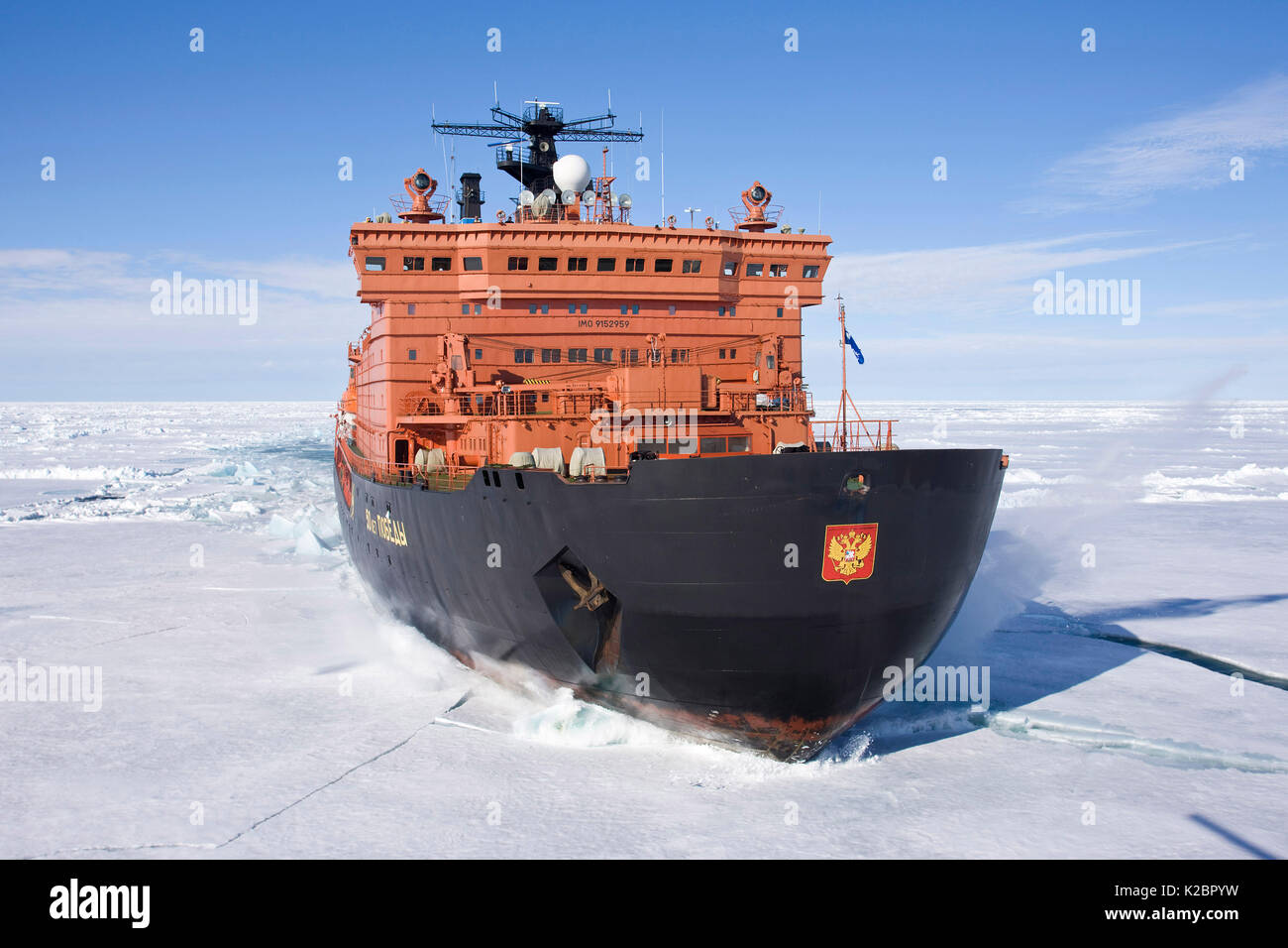 The world's largest nuclear-powered icebreaker, '50 years of Victory', on the way to the North Pole, Russian Arctic, July 2008. All non-editorial uses must be cleared individually. - Stock Image