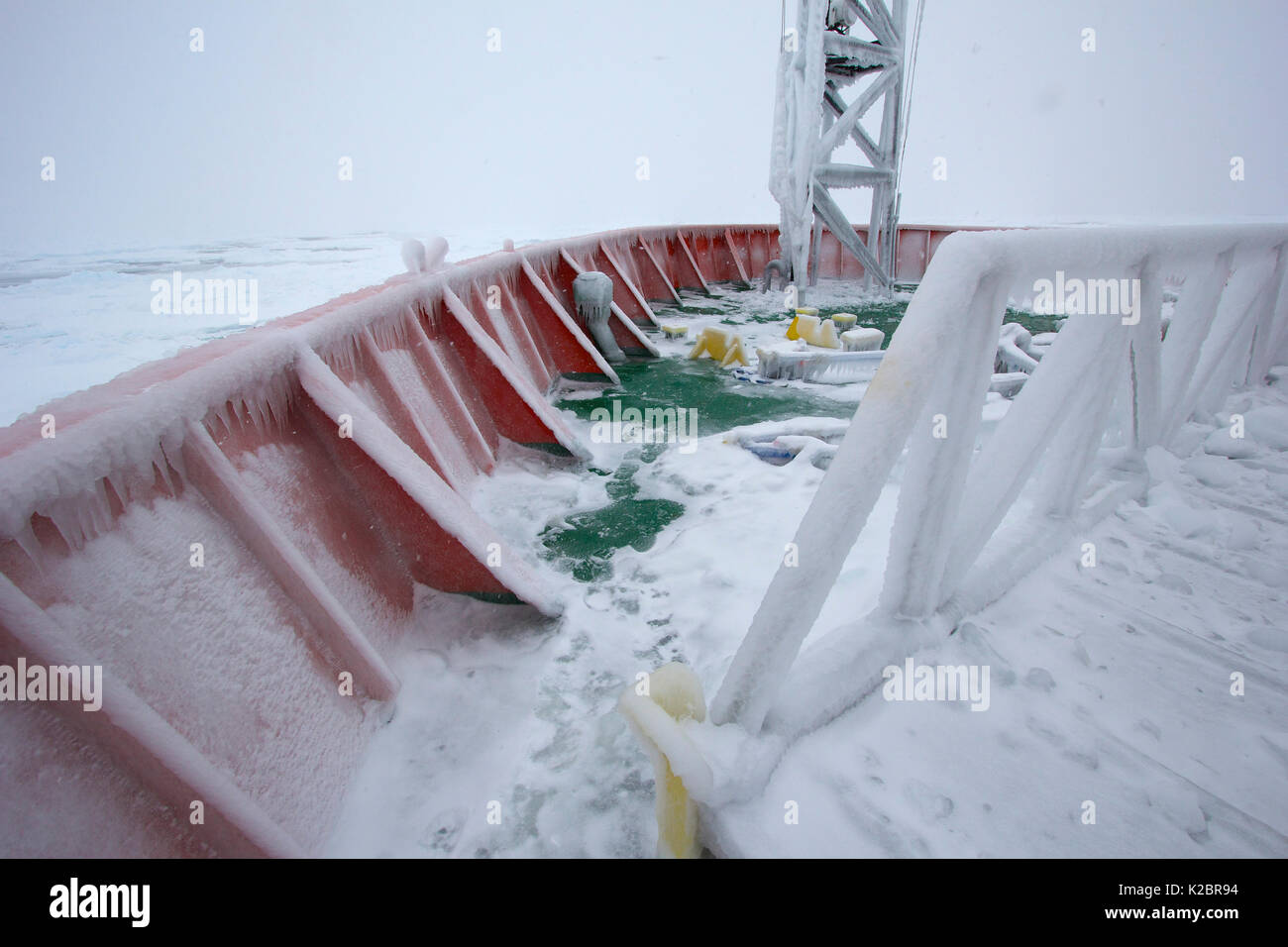 Frozen deck of the icebreaker 'Aurora Australis', Antarctica. All non-editorial uses must be cleared individually. - Stock Image