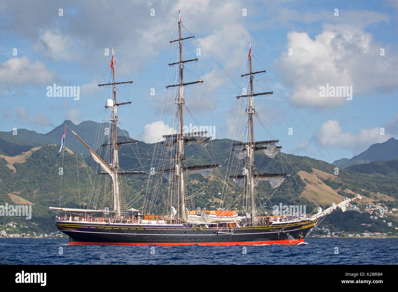 Three-masted clipper cruising ship 'Stad Amsterdam', Dominica, Caribbean Sea, Atlantic Ocean. All non-editorial uses must be cleared individually. - Stock Image