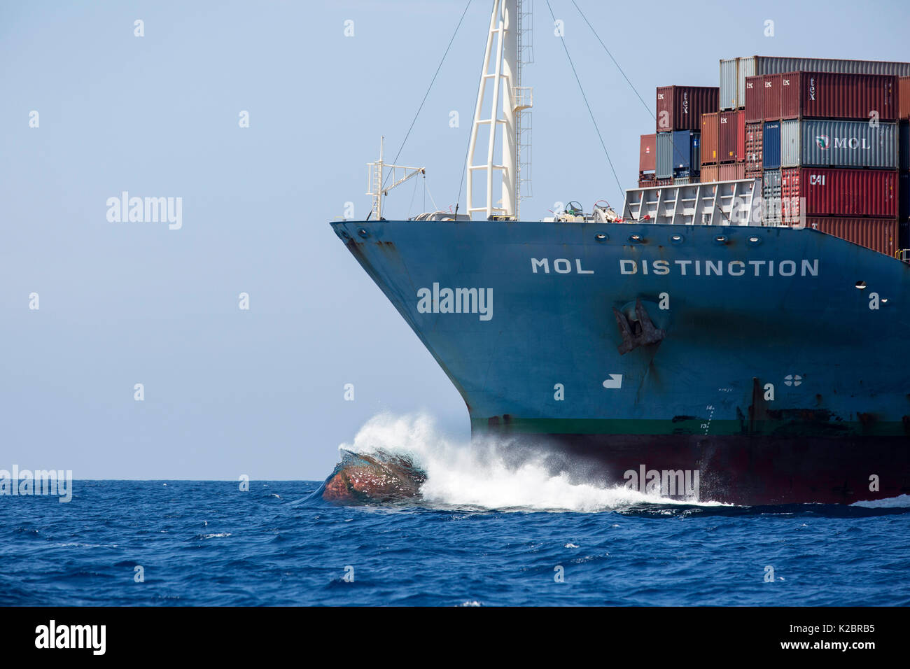 Waves crashing against the bow of the container ship 'Mol Distinction', off Mirissa, Sri Lanka, Indian Ocean. - Stock Image