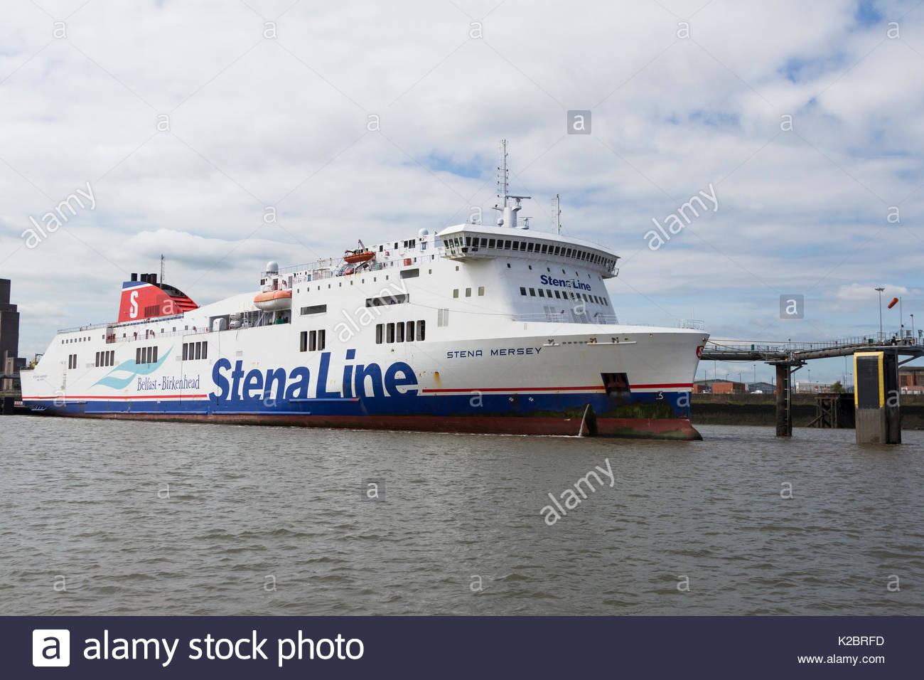 Birkenhead to Belfast ferry 'Stena Mersey' moored at Birkenhead terminal. Merseyside, England UK. June 2014 - Stock Image
