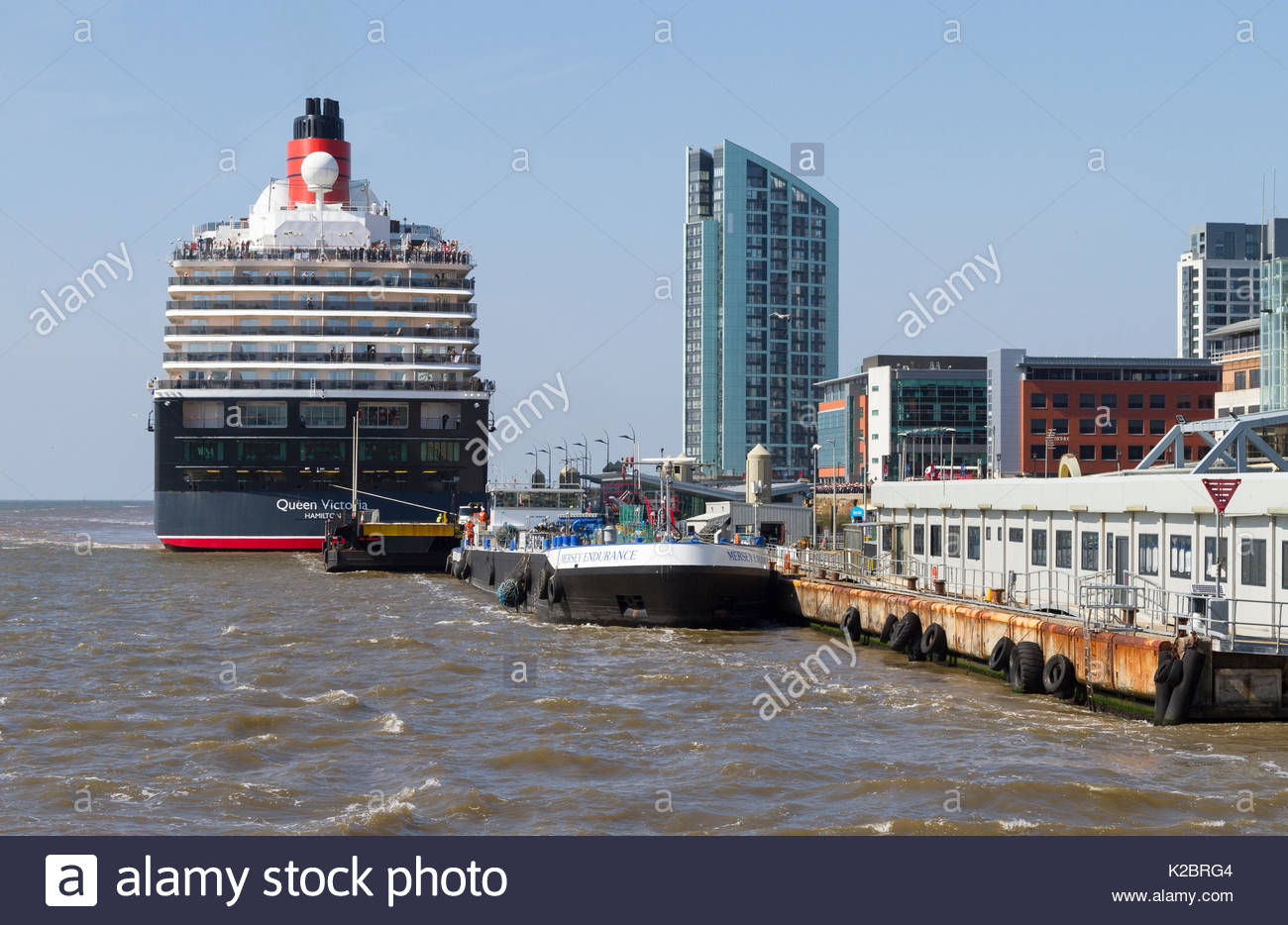 Cruise liner 'Queen Victoria' at  the Liverpool cruise liner terminal. Liverpool, Merseyside, England, UK. May 2014. - Stock Image