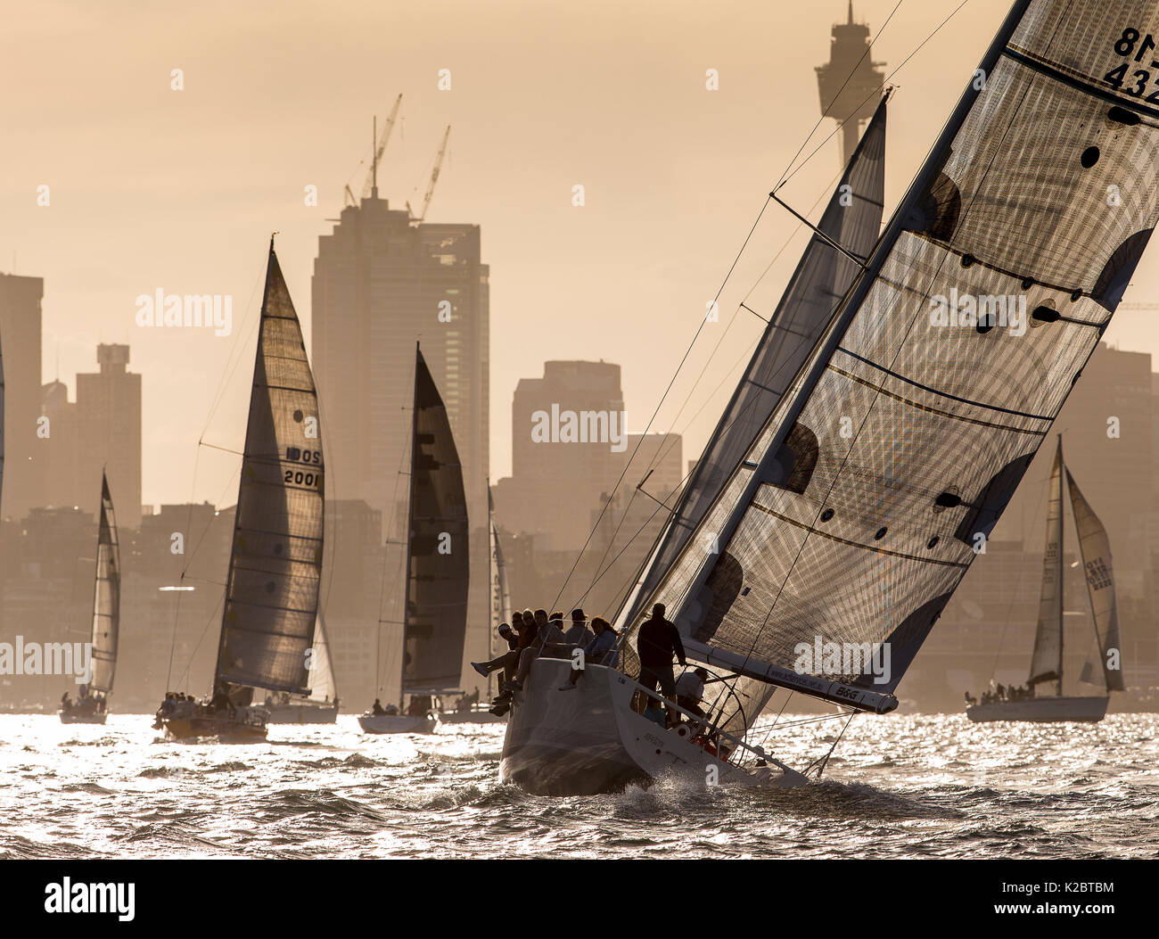 Yachts race at dusk in Sydney Harbour, New South Wales, Australia, November 2012. All non-editorial uses must be cleared individually. - Stock Image