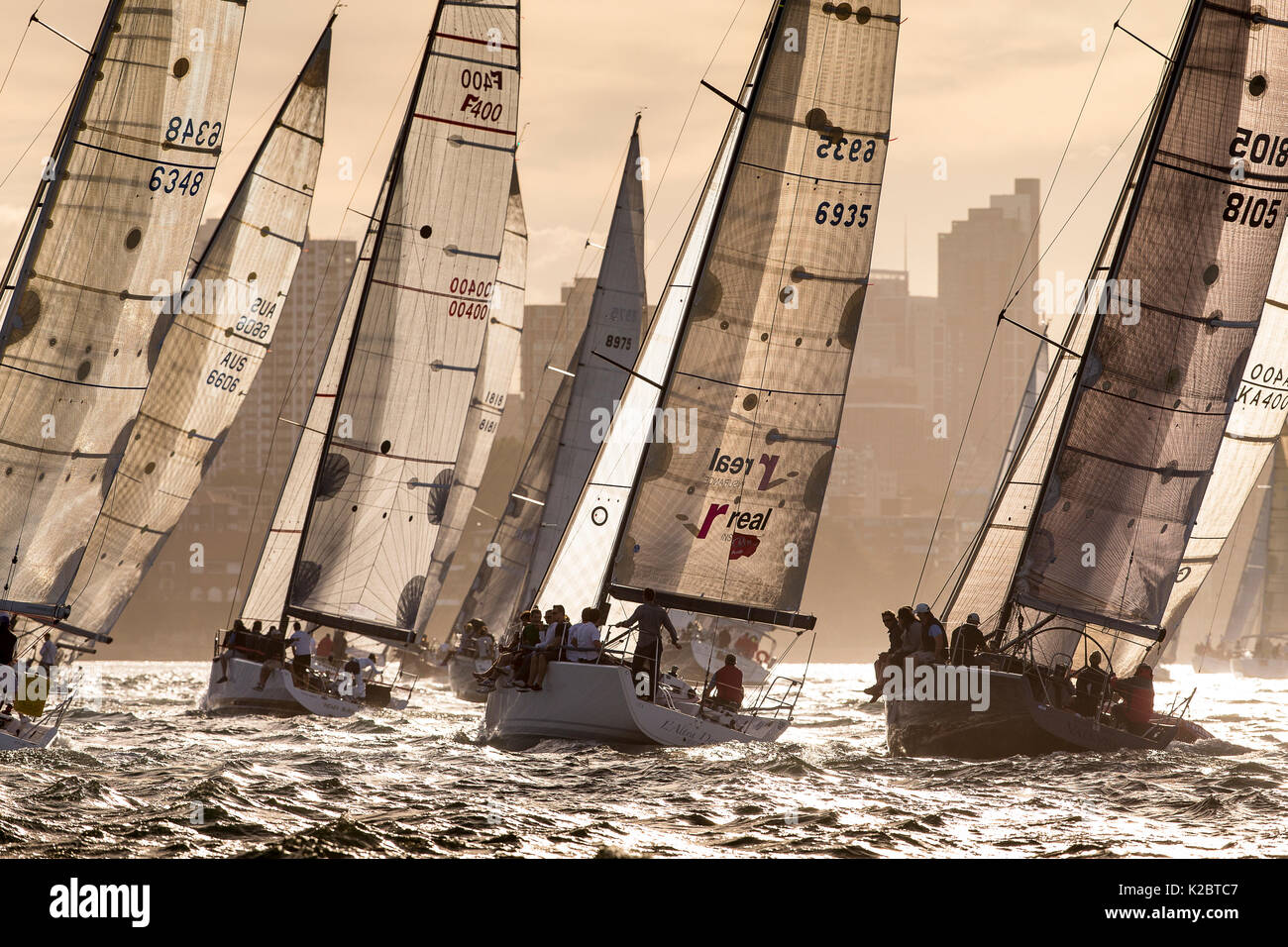 Yachts racing at dusk in the Sydney Harbor in Sydney, New South Wales, Australia, November 2012. All non-editorial uses must be cleared individually. - Stock Image
