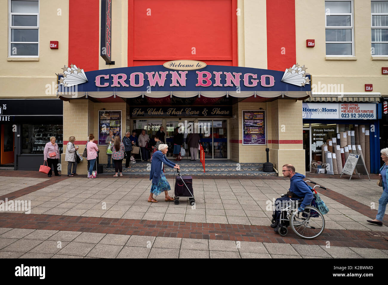 Crown Bingo with people waiting outside for it to open Stock Photo
