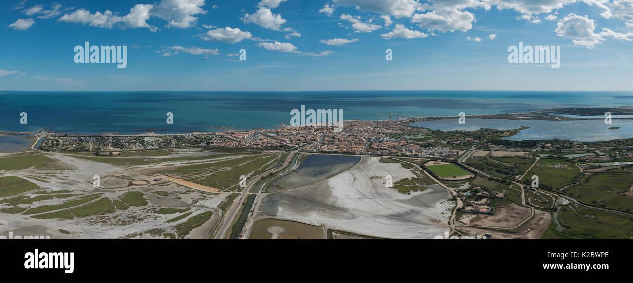 Aerial view of Saintes Maries de la Mer village, Camargue, France, July. - Stock Image