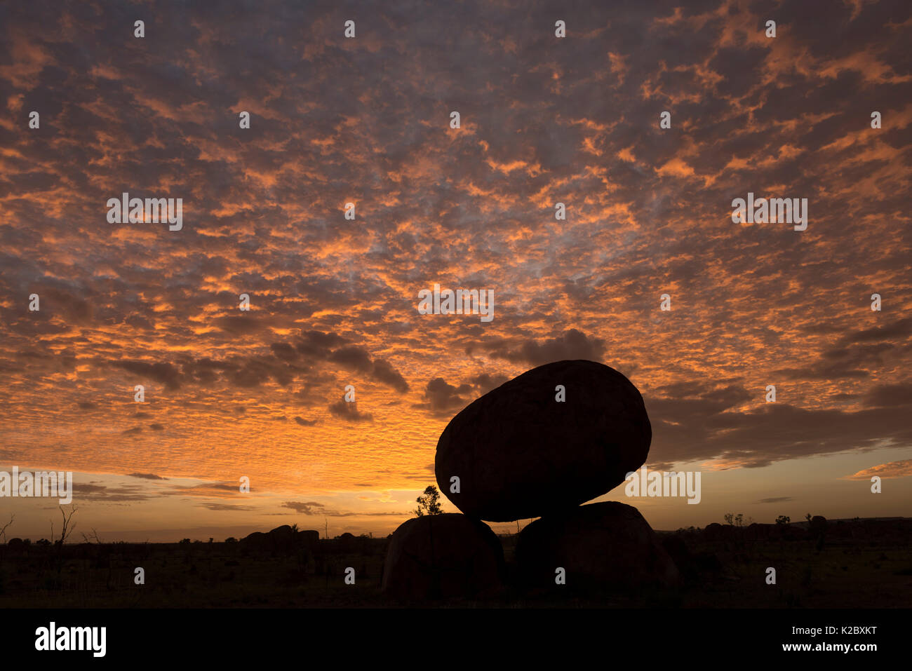 Devils Marbles silhouetted at sunset, with mackerel sky, Devils Marbles Conservation Reserve, Northern Territory, Australia. - Stock Image
