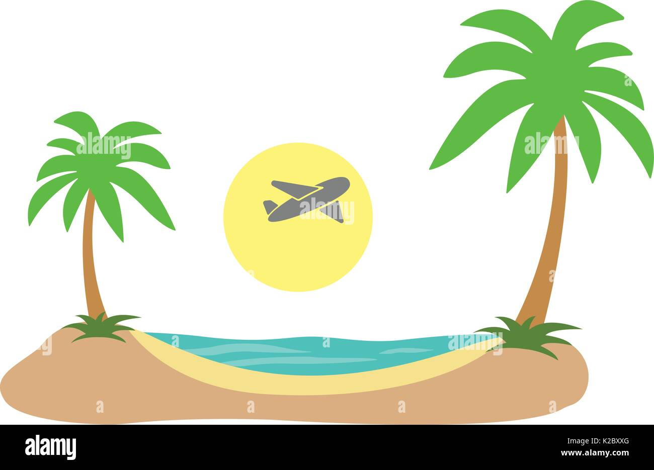 Summer Vacation. Tropical island plane in sky sea shore sand beach flat. Vector - Stock Vector
