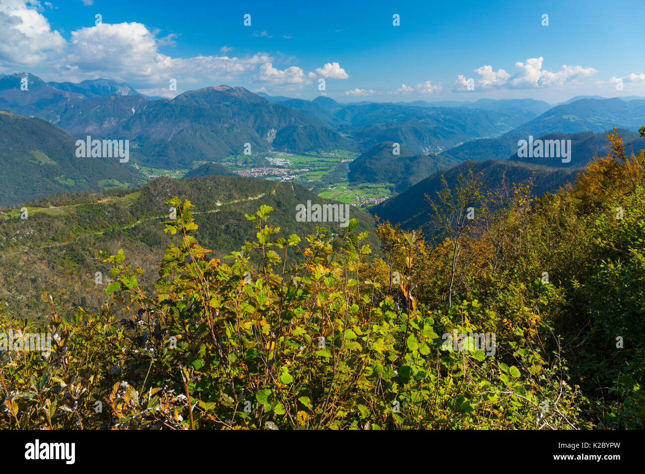 View from the The Walk of Peace, hiking route dedicated to World War I casualties.  Soca Valley, Julian Alps, Slovenia, October 2014. - Stock Image