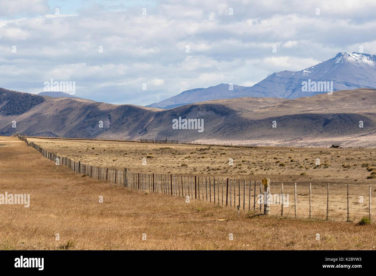 Estancia landscape with fence post, near Cerro Castillo, Patagonia, Chile, March 2015. - Stock Image