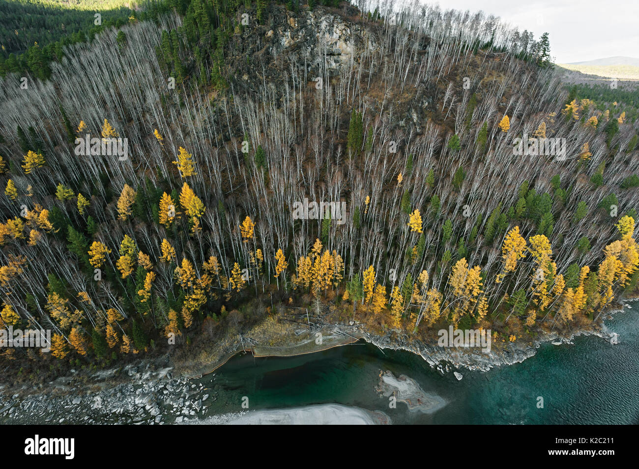 Aerial view of the Ketoy river, Siberia, Russisa,  October 2010. - Stock Image