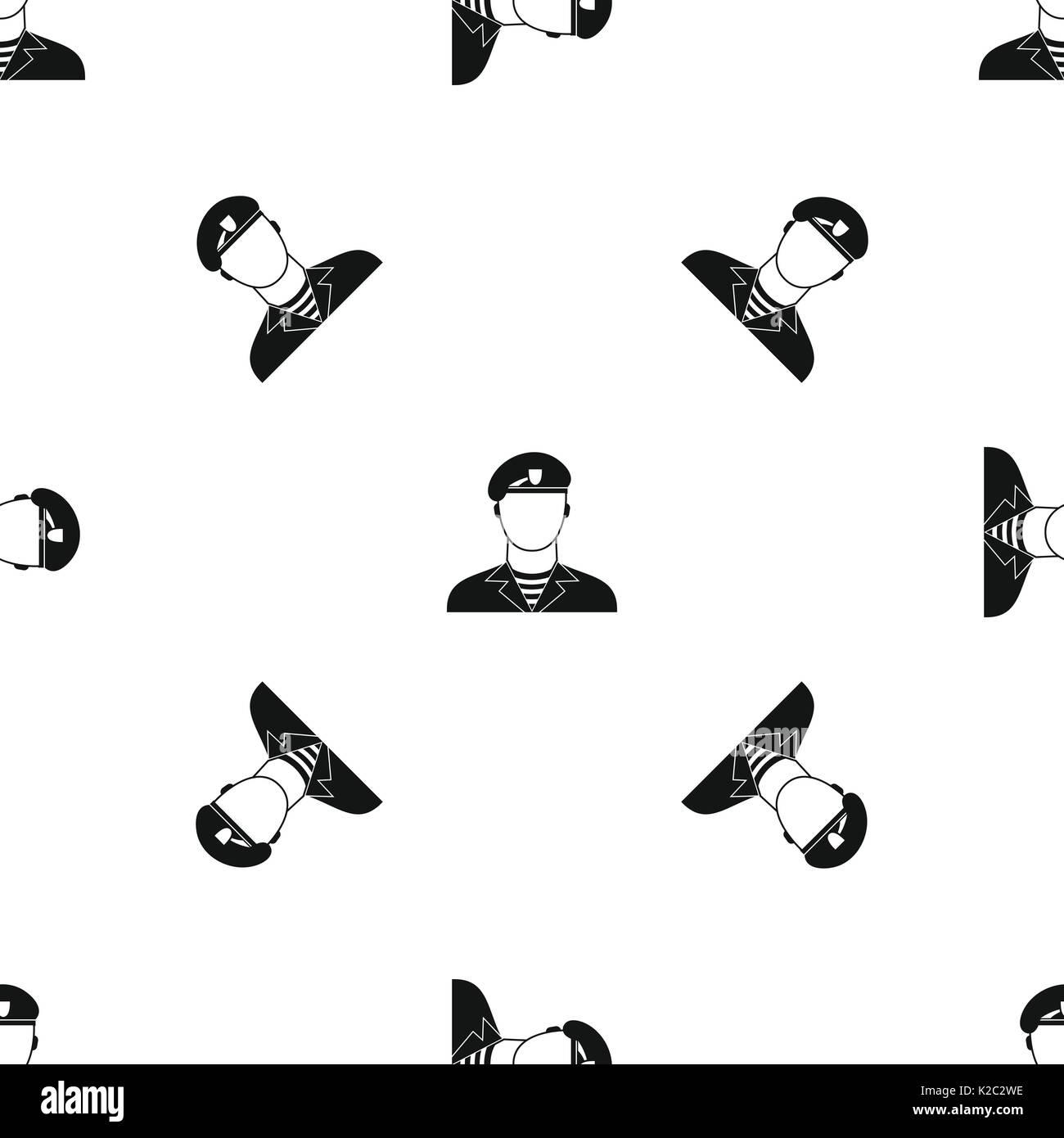 Modern army soldier pattern seamless black - Stock Image