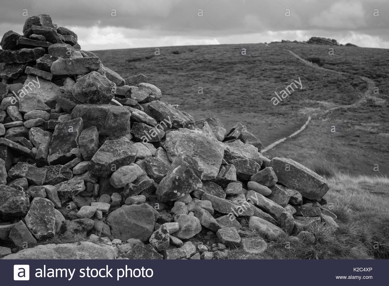 Lost Lad Cairn (mono) - Stock Image