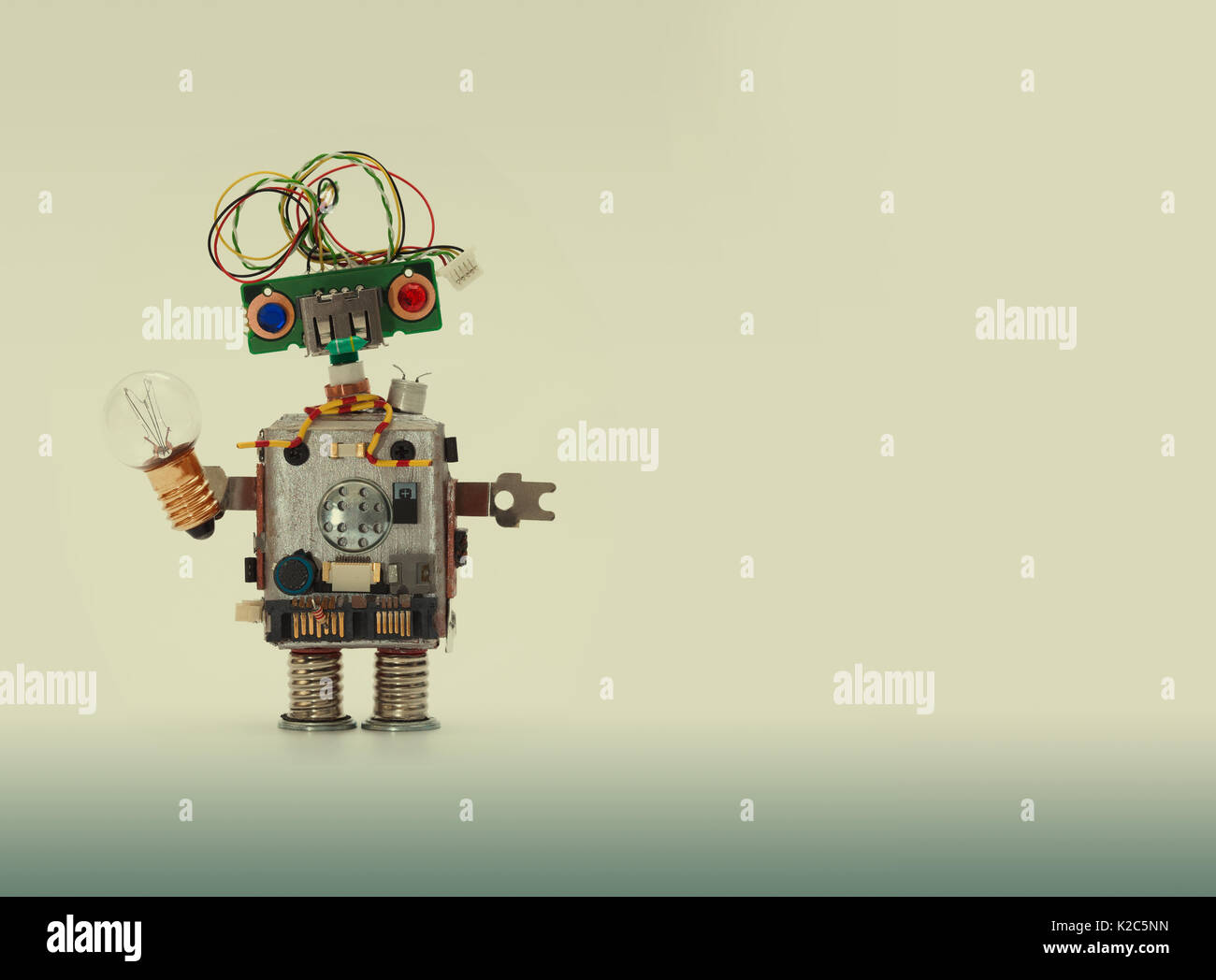 Futuristic robot concept with electrical wire hairstyle. Circuits ...