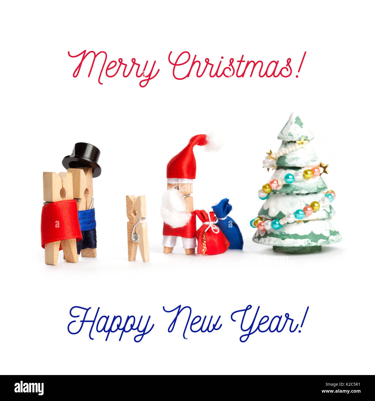 merry christmas and happy new year postcard template wooden clothespin santa claus man woman and child waiting xmas gifts spruce tree white background