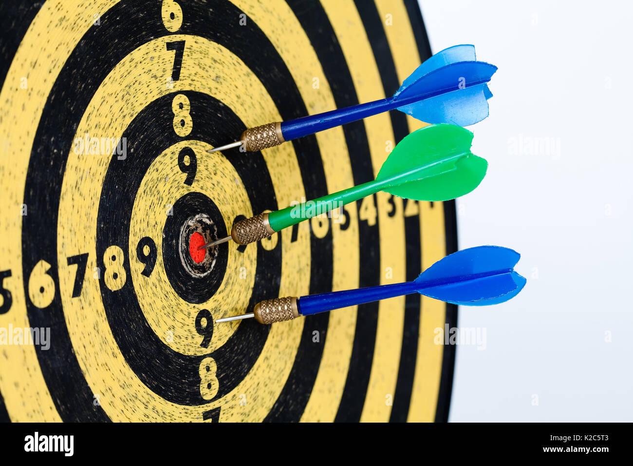 Retro style target darts on white background. success aim, goal concept. - Stock Image