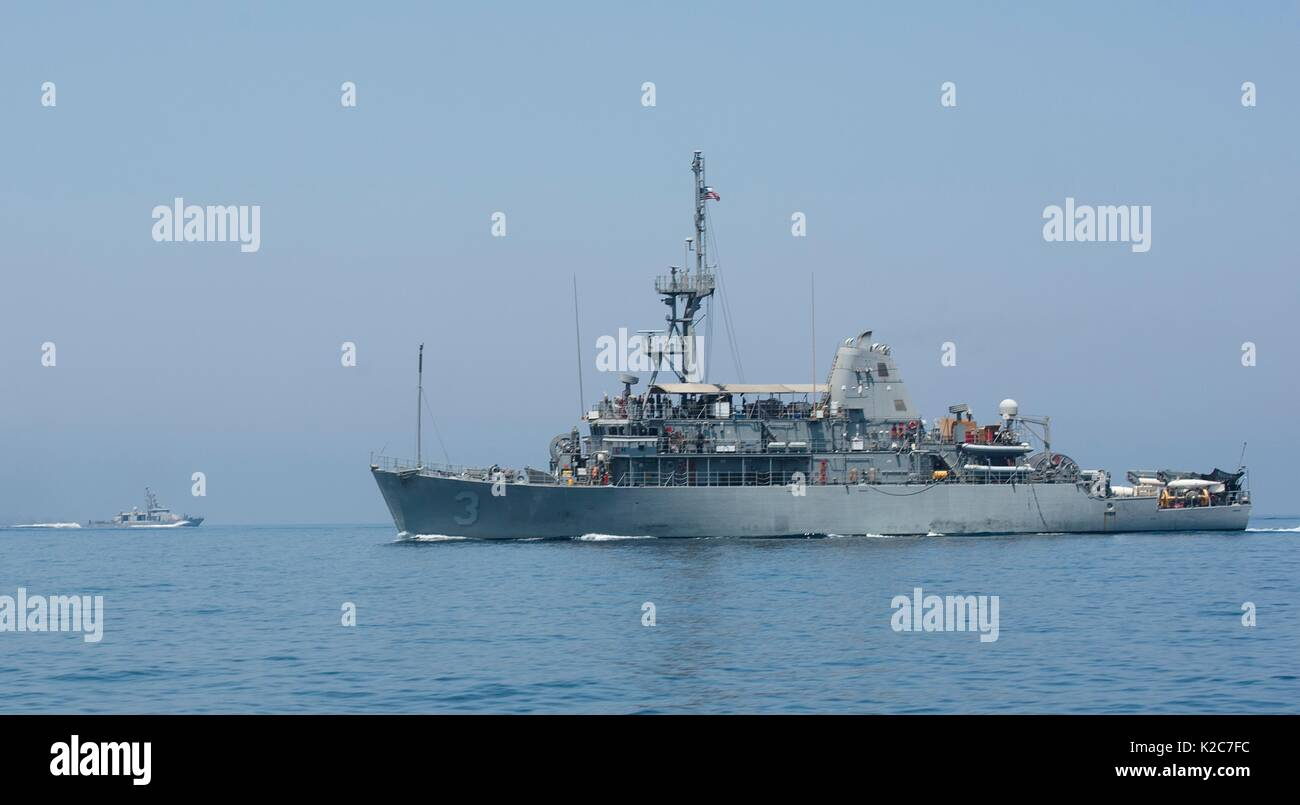 The U.S. Navy Avenger-class mine countermeasures ship USS Sentry steams underway during Exercise Spartan Kopis August Stock Photo