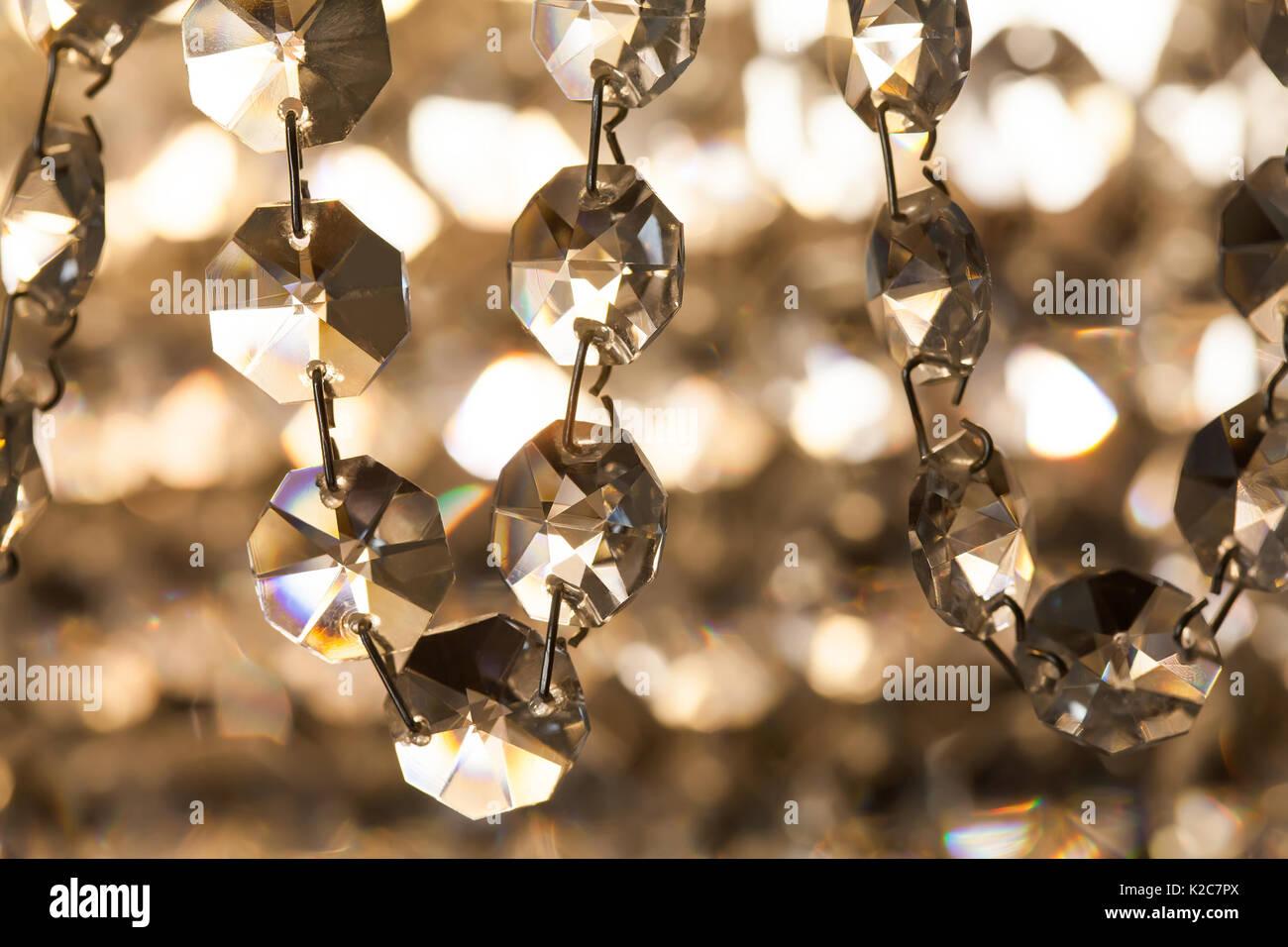 Retro Style Crystal Chandelier Transparent Pendant Macro View Light Background Soft Focus