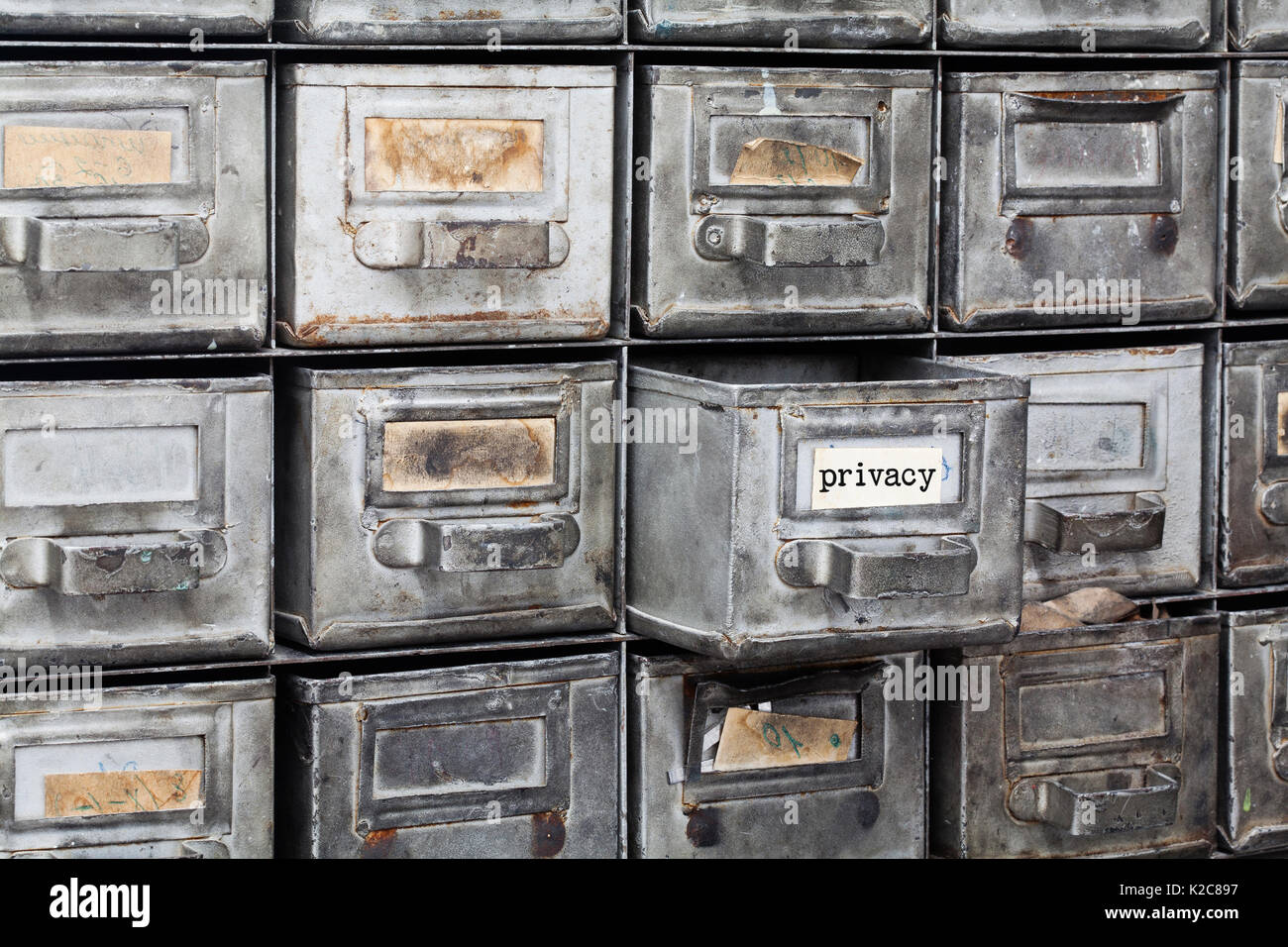 Privacy information concept. filing system with opened metallic box. Aged paper textured nameplates. Retro style storage, protect management. - Stock Image